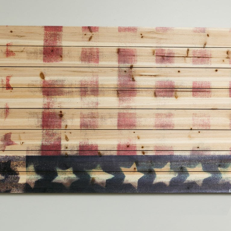 Bold Red Striped Flag Paint Print On Natural Pine Wood